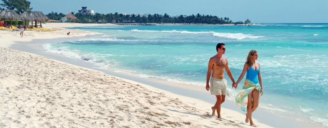 Beach Walking Romance Couple Iberostar Paraiso Del Mar Riviera Maya Mexico