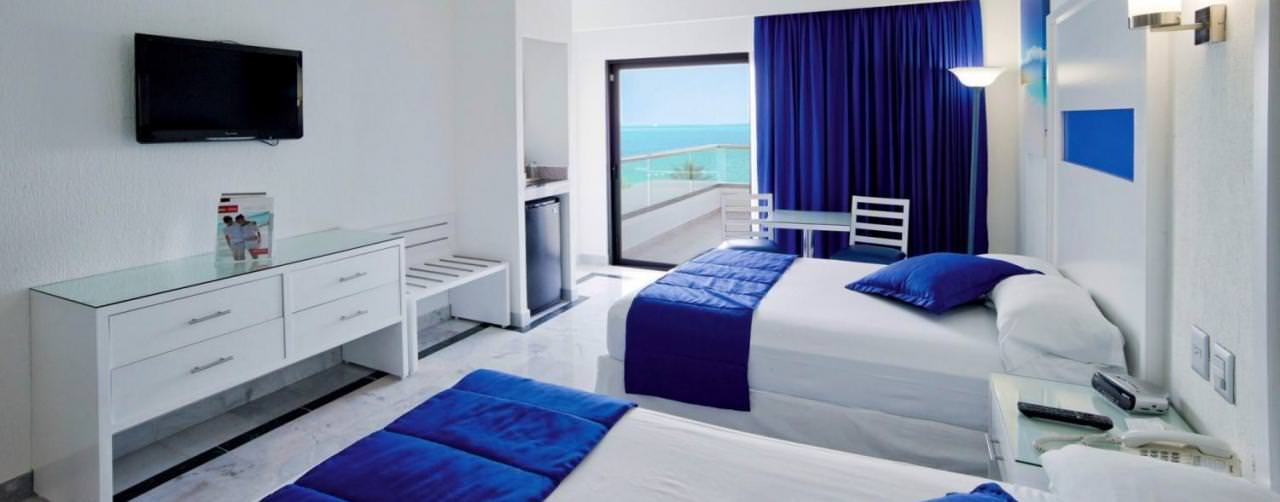 Cancun Mexico Riu Caribe Room Standard Double Beds Ocean View Balcony