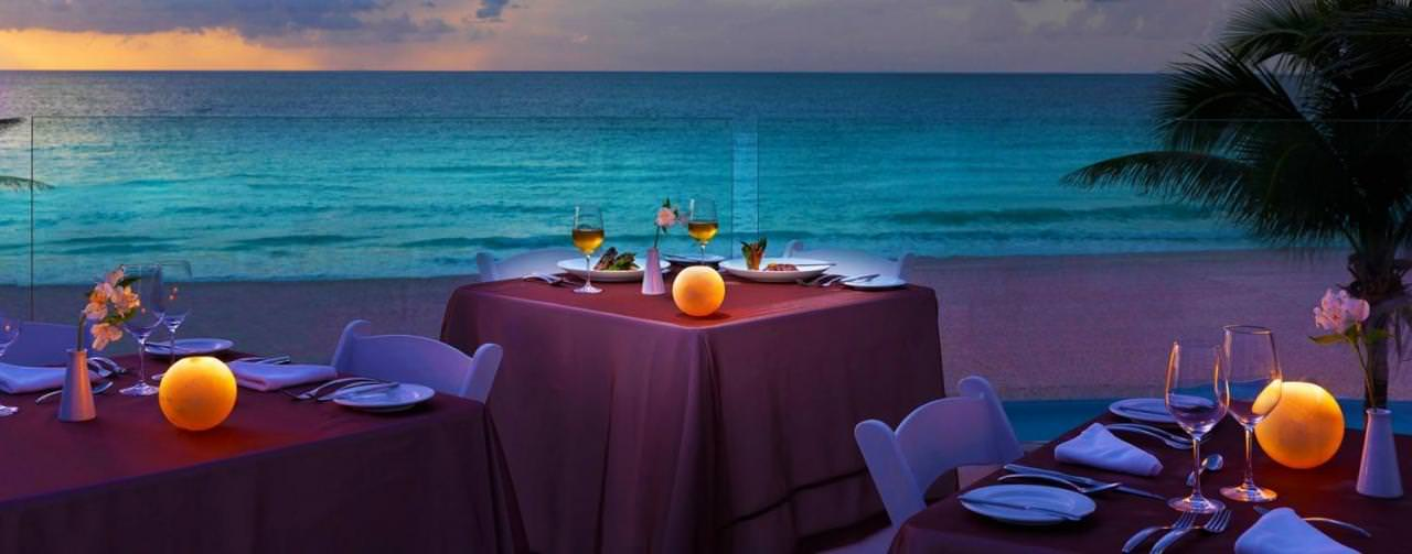 Cancun Mexico Wedding Event Table Set Up Beach Front Le Blanc Spa Resort