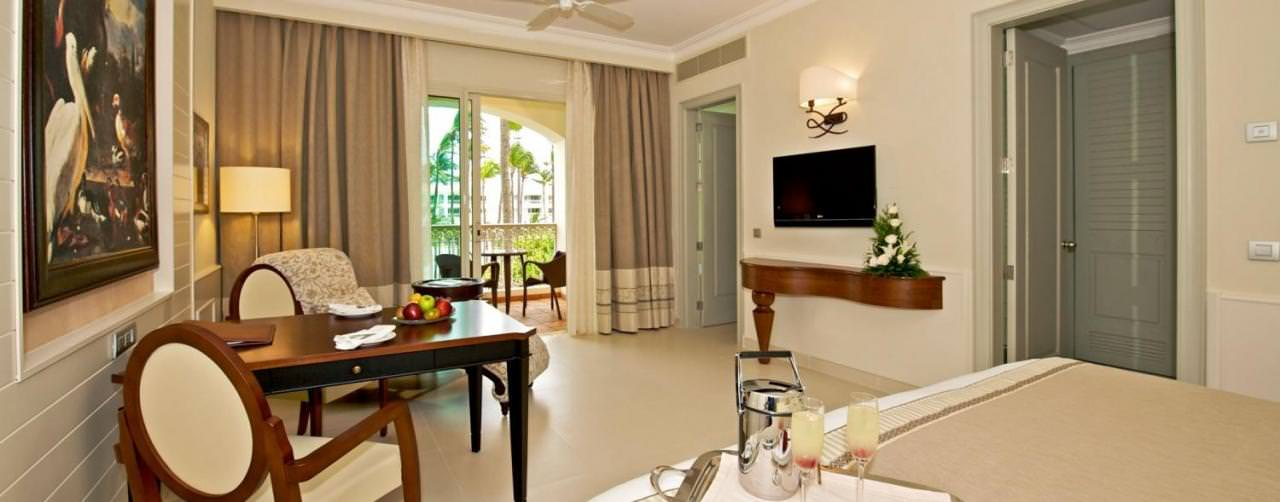 Iberostar Grand Hotel Bavaro Punta Cana Dominican Republic Room Suite King Sitting Area Balcony Champagne