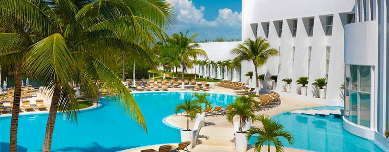 Le Blanc Spa Resort Cancun Mexico Pool Palm Trees Lounge Chairs
