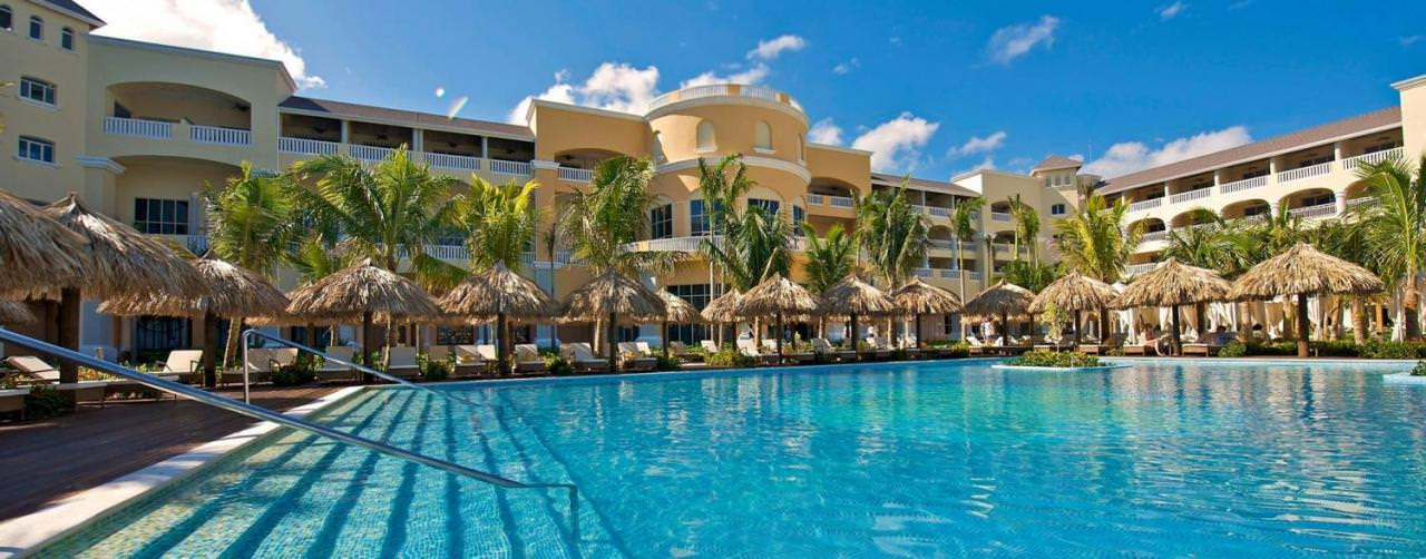 Montego Bay Jamaica Iberostar Grand Hotel Rose Hall Pool Lounge Chairs Palapas