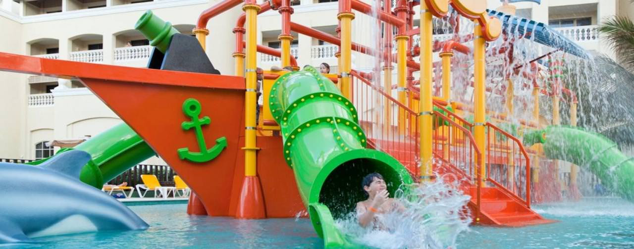 Montego Bay Jamaica Iberostar Rose Hall Suites Kids Water Park Slides Pool Pirate Ship