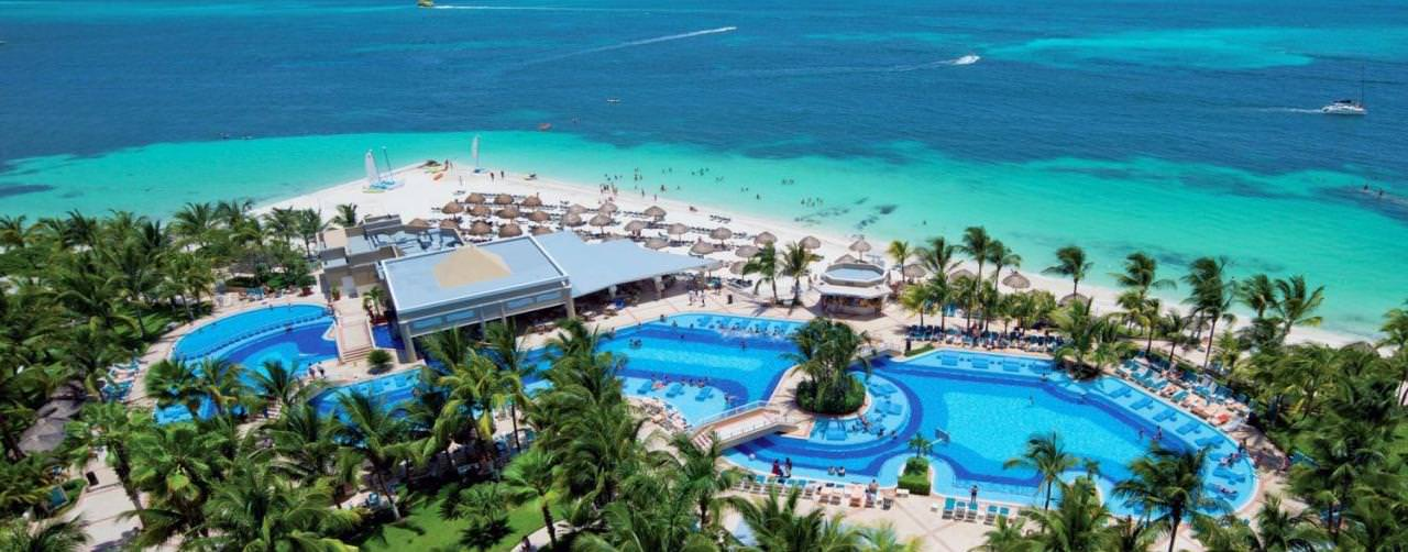 Pool Aerial View Ocean Riu Caribe Cancun Mexico