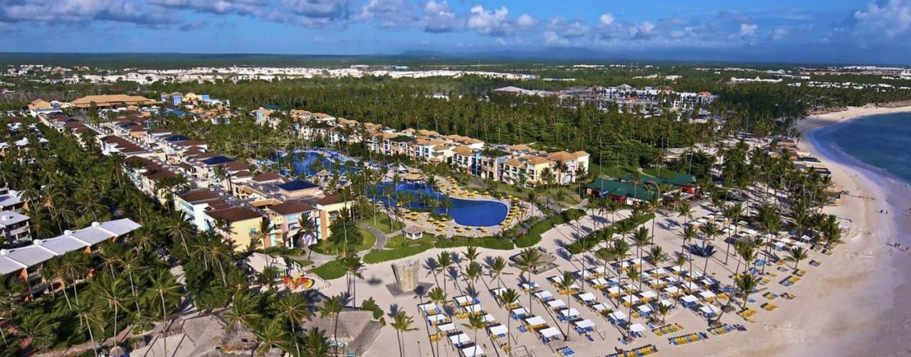Punta Cana Dominican Republic Beach Aerial Panoramic View Hotel Exterior Ocean Blue
