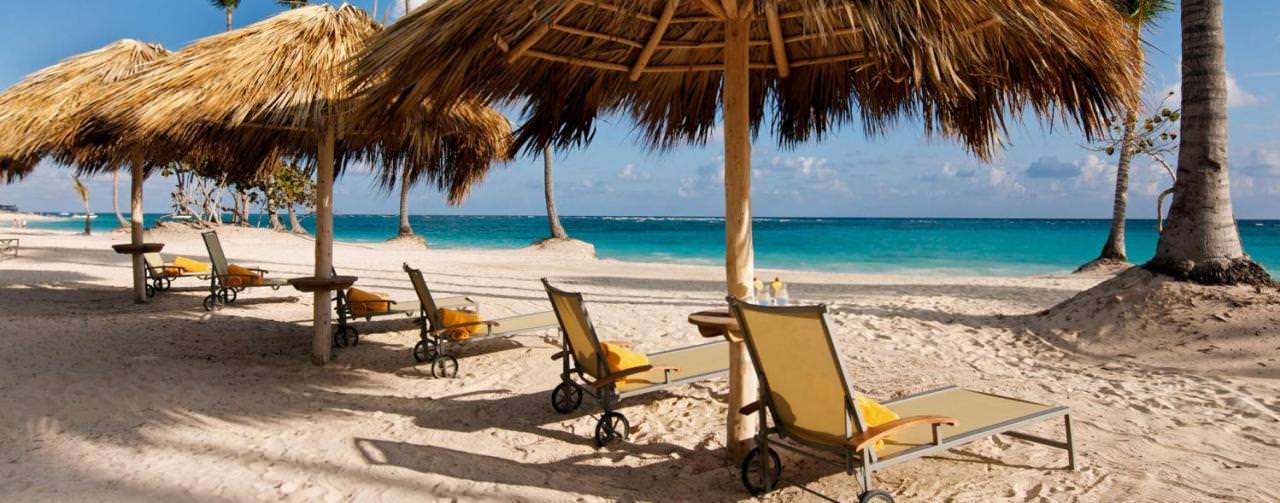 Punta Cana Dominican Republic Iberostar Grand Hotel Bavaro Beach Chairs Palapas View