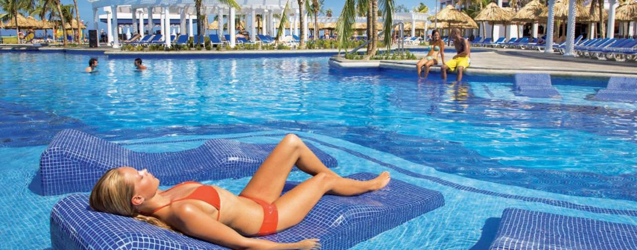 Riu Montego Bay Montego Bay Jamaica Pool Submerged Lounge Chair Relax