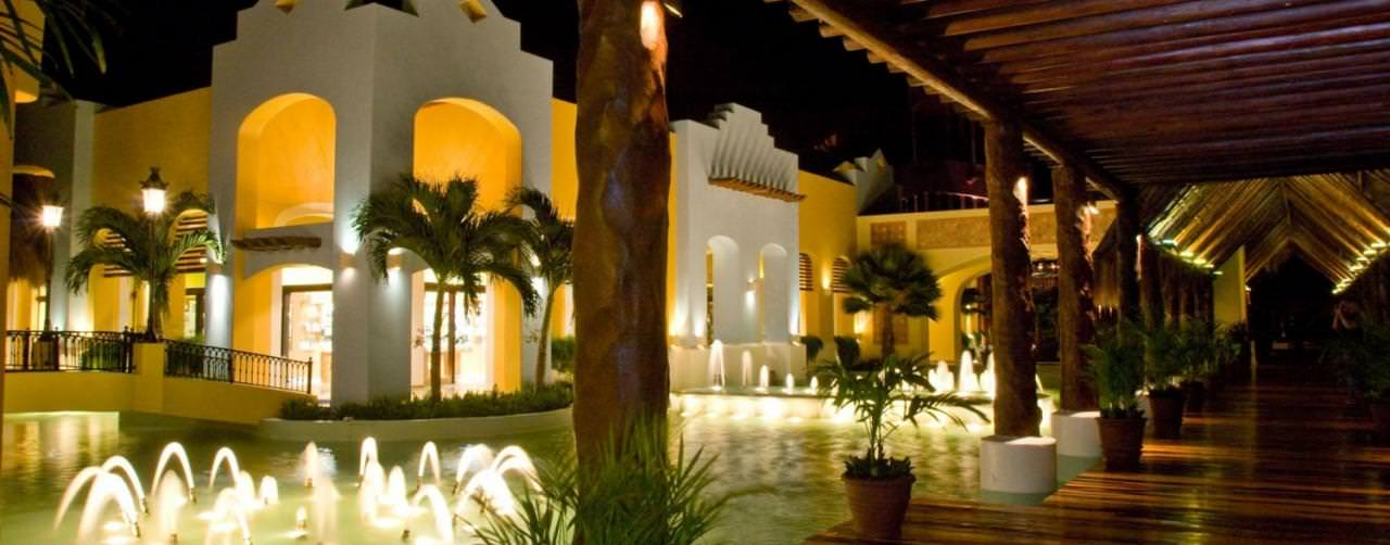 Riviera Maya Mexico Iberostar Paraiso Lindo Amenities Walk Way Fountains Night View