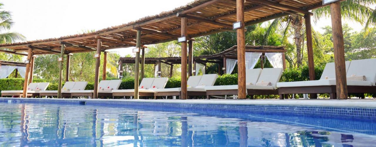 Riviera Maya Mexico Valentin Imperial Maya Pool Covered Day Beds Reserved