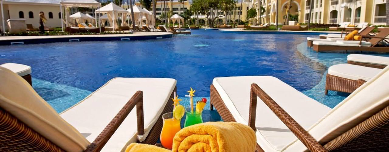 Pool Lounge Chairs Drinks Relax Iberostar Grand Hotel Bavaro Punta Cana Dominican Republic