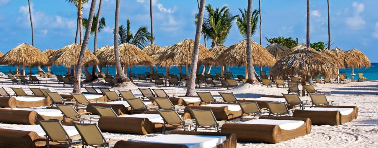 Punta Cana Dominican Republic Beach Beds Chairs Palm Tree View Iberostar Grand Hotel Bavaro