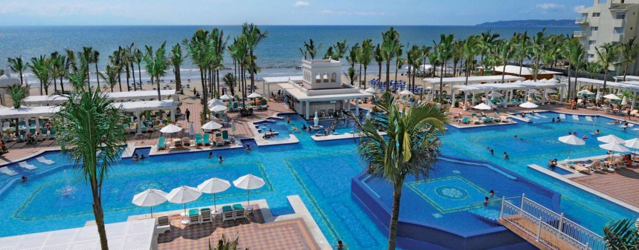 Riu Palace Pacifico Riviera Nayarit Puerto Vallarta Pool Aerial View Beach Palm Trees