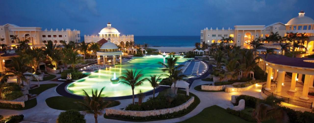 Riviera Maya Mexico Iberostar Grand Hotel Paraiso Pool Main Pool Night View